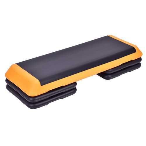 "43"" Height Adjustable Fitness Aerobic Step with Risers-Orange"