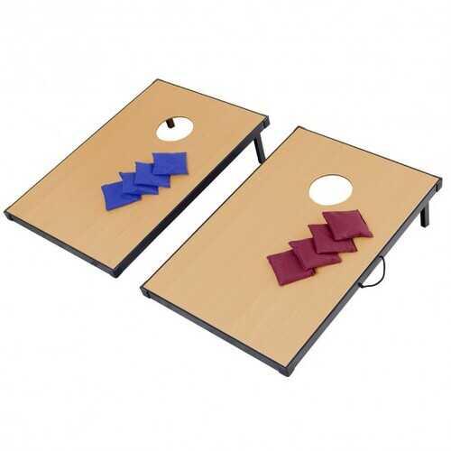 "35"" Foldable Wooden Bean Bag Toss Cornhole Game Set"