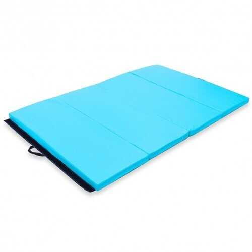 "4' x 6' x 2"" PU Thick Folding Panel Exercise Gymnastics Mat-Blue - Color: Blue"