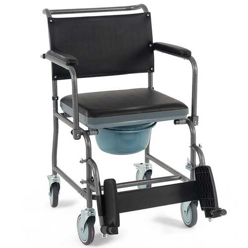 Medical Transport Toilet Commode Wheelchair with Locking Casters
