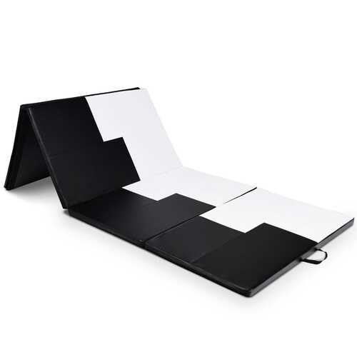 "4' x 10' x 2"" Gymnastics Mat Folding Portable Exercise Aerobics Exercise Mat-Black & White - Color: Black & White"