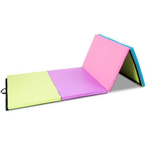"4' x 10' x 2"" Multicolor Portable Folding PU Gymnastics Mat"