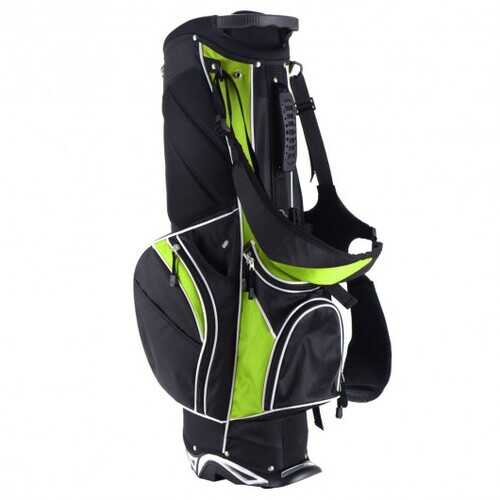 Golf Stand Cart Bag with 6-Way Divider Carry Pockets-Green