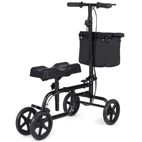 Folding Adjustable Steerable Knee Walker Scooter with Basket