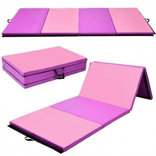 "4' x 10' x 2"" Thick Folding Panel Gymnastics Mat-Pink & Purple - Color: Pink & Purple"
