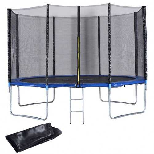 12' Trampoline with Net Ladder & Rain Cover