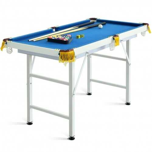 """47"""" Folding Billiard Table Pool Game Table with Cues and Brush Chalk-Blue - Color: Blue"""