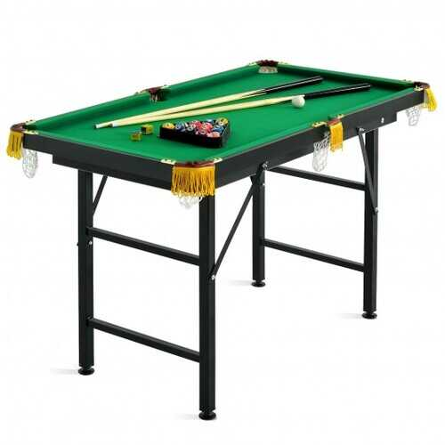 """47"""" Folding Billiard Table Pool Game Table with Cues and Brush Chalk -Green - Color: Green"""