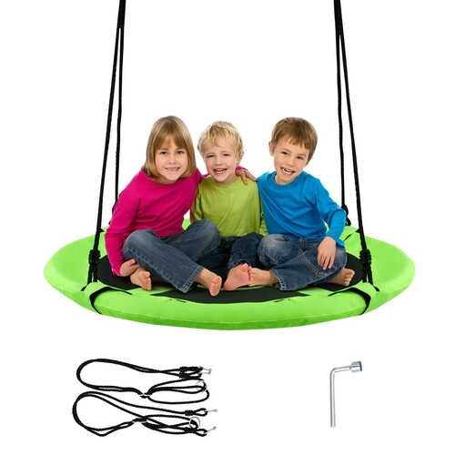 "40"" Flying Saucer Tree Swing Indoor Outdoor Play Set-Green"