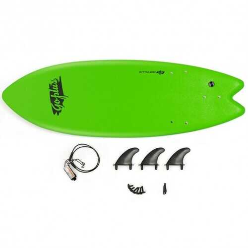 """5'5"""" Ocean Foamie SurfBoard  with Rope and 3 Fins-Green"""