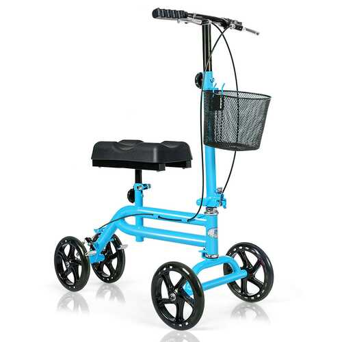 Medical Steerable Knee Walker with Dual Braking System-Blue
