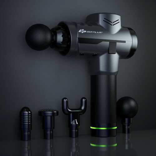 Powerful Rechargeable Deep Muscle Massager with 4 Heads-Black