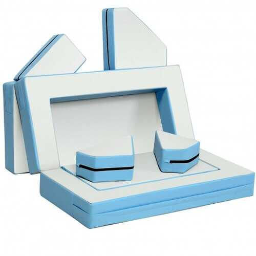 4-in-1 Crawl Climb Foam Shapes Toddler Kids Playset-Blue - Color: Blue