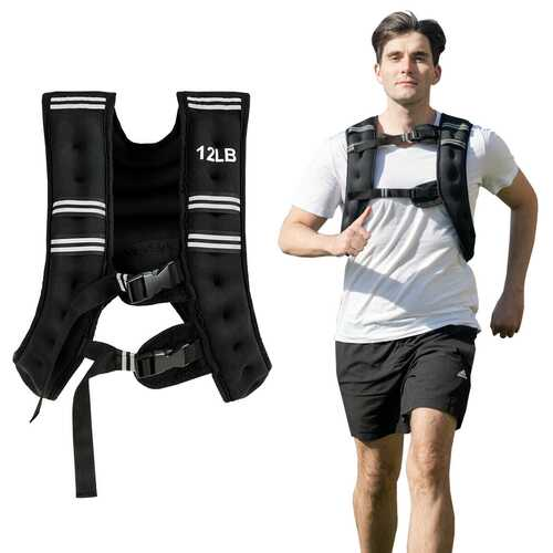 Training Adjustable Workout Weighted Vest with Mesh Bag-12 lbs