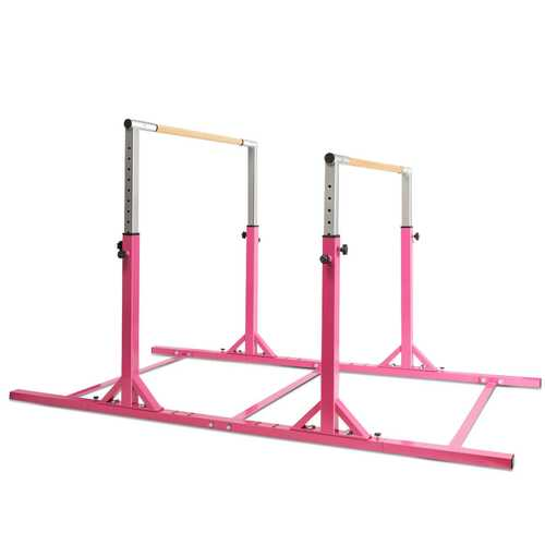 Kids Adjustable Width & Height Gymnastics Parallel Bars - Color: Pink