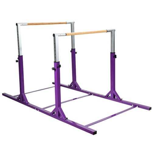 Kids Double Horizontal Bars Gymnastic Training Parallel Bars Adjustable-Purple - Color: Purple