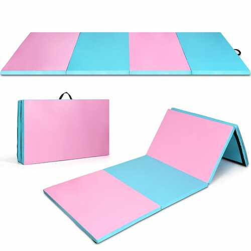 "4' x 10' x 2"" Folding Gymnastics Tumbling Gym Mat-Blue - Color: Blue"