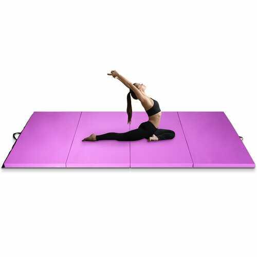 "4' x 10' x 2"" Folding Gymnastics Tumbling Gym Mat-Pink - Color: Pink"