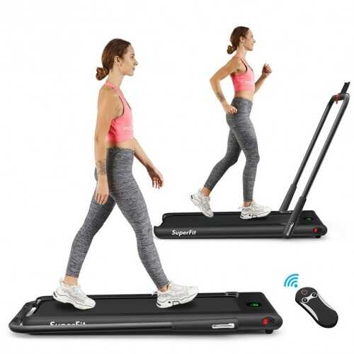 2-in-1 Folding Treadmill with RC Bluetooth Speaker LED Display-Black - Color: Black