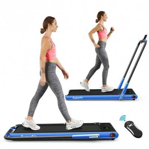 2-in-1 Folding Treadmill with RC Bluetooth Speaker LED Display-Blue - Color: Blue