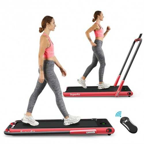 2-in-1 Folding Treadmill with RC Bluetooth Speaker LED Display-Red - Color: Red