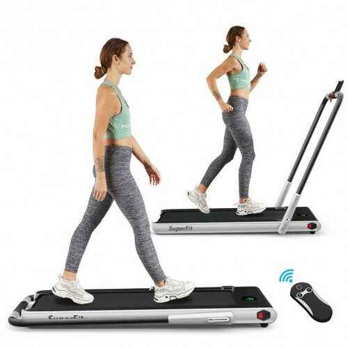 2-in-1 Folding Treadmill with RC Bluetooth Speaker LED Display-Silver - Color: Silver