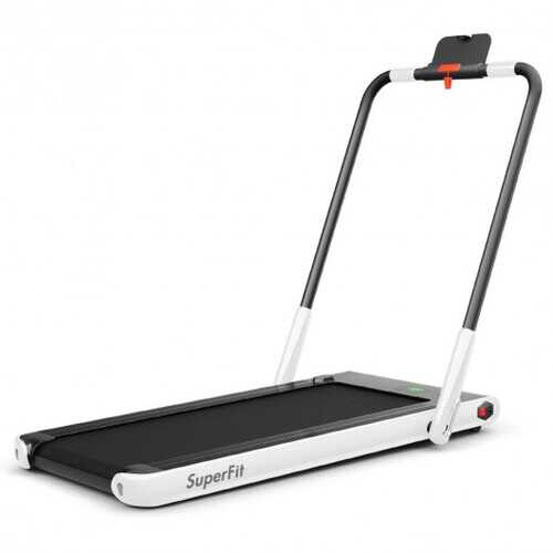 2-in-1 Folding Treadmill with RC Bluetooth Speaker LED Display-White - Color: White