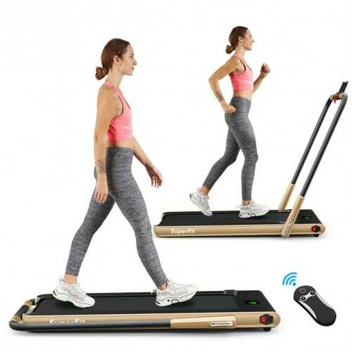 2-in-1 Folding Treadmill with RC Bluetooth Speaker LED Display-Golden - Color: Golden