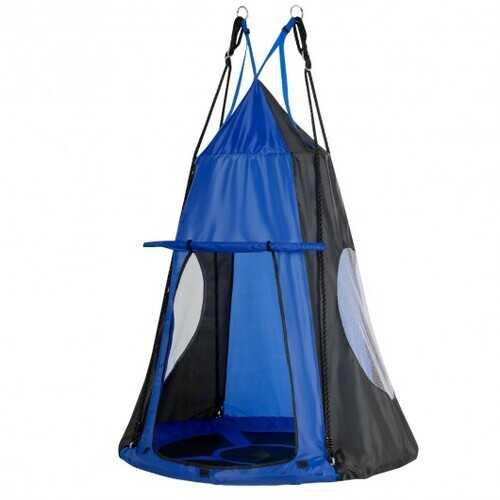 Kids Hanging Chair Swing Tent Set-Blue