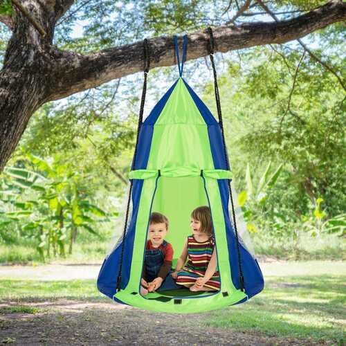 Kids Hanging Chair Swing Tent Set-Green