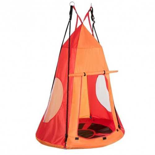 Kids Hanging Chair Swing Tent Set-Orange
