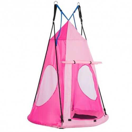 Kids Hanging Chair Swing Tent Set-Pink