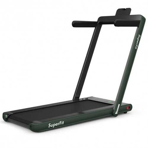2-in-1 Folding Treadmill with Bluetooth Speaker LED Display-Green