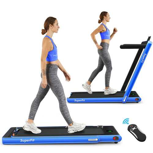 2 in 1 Folding Treadmill with Bluetooth Speaker Remote Control-Navy - Color: Navy