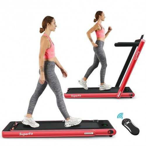 2 in 1 Folding Treadmill with Bluetooth Speaker Remote Control-Red - Color: Red