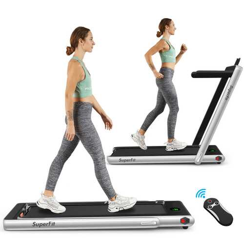 2 in 1 Folding Treadmill with Bluetooth Speaker Remote Control-Silver