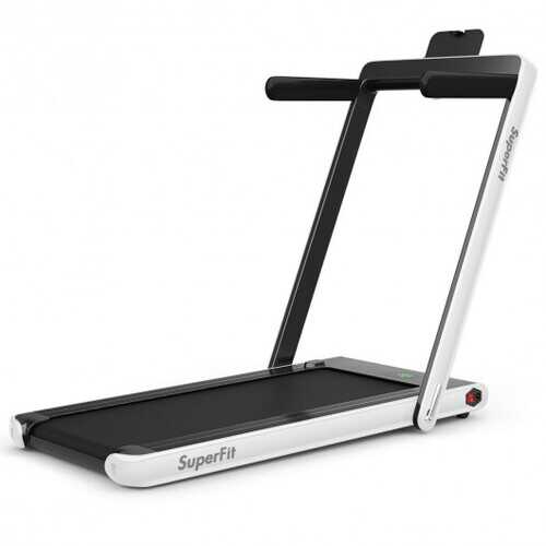 2-in-1 Folding Treadmill with Bluetooth Speaker LED Display-White