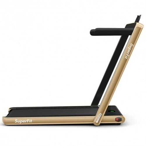 2-in-1 Folding Treadmill with Bluetooth Speaker LED Display-Yellow - Color: Yellow