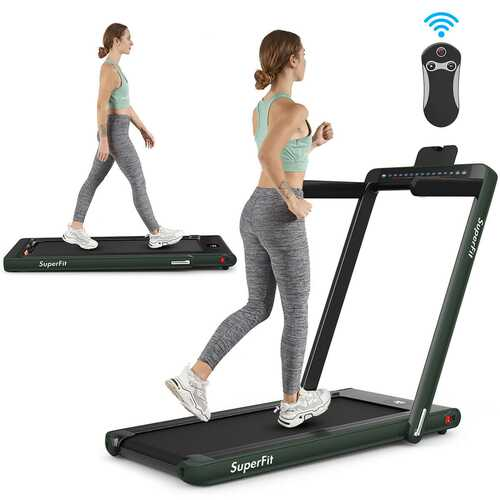 2 in 1 Folding Treadmill Dual Display with Bluetooth Speaker-Green