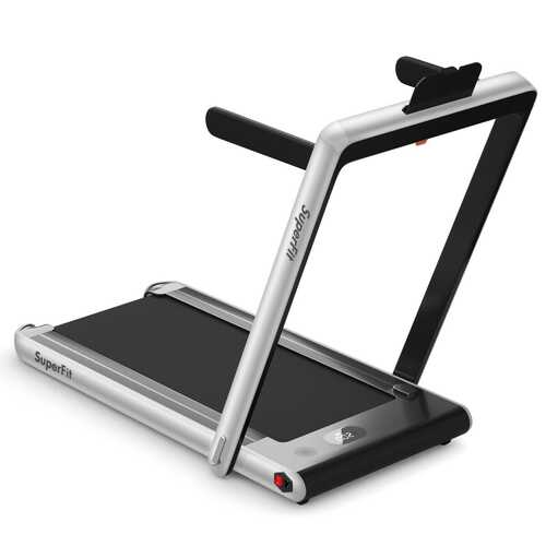 2 in 1 Folding Treadmill Dual Display with Bluetooth Speaker-Silver