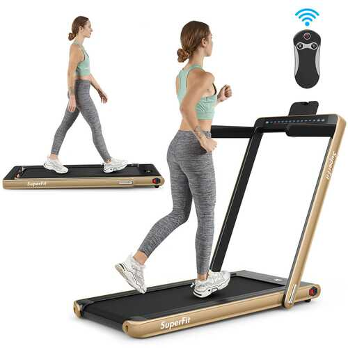 2 in 1 Folding Treadmill Dual Display with Bluetooth Speaker-Yellow