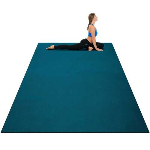 Large Yoga Mat 6' x 4' x 8 mm Thick Workout Mats-Blue - Color: Blue