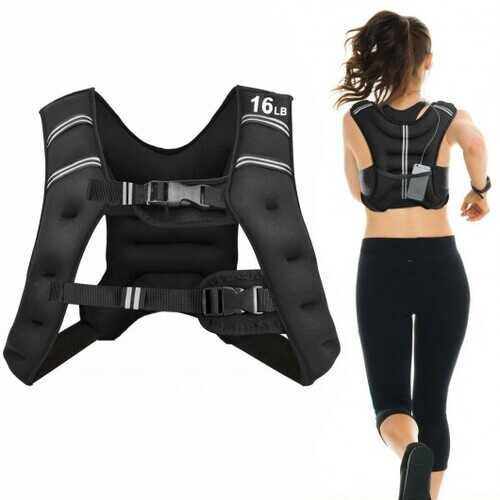 16LBS Workout Weighted Vest with Mesh Bag Adjustable Buckle