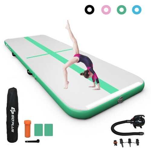15FT Air Track Inflatable Gymnastics Tumbling Mat -Green - Color: Green