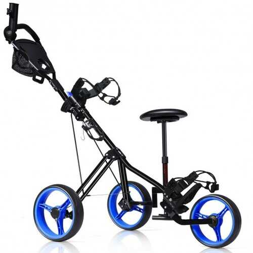 Foldable 3 Wheels Push Pull Golf Trolley with Scoreboard Bag-Navy