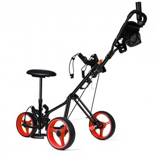 Foldable 3 Wheels Push Pull Golf Trolley with Scoreboard Bag-Red - Color: Red