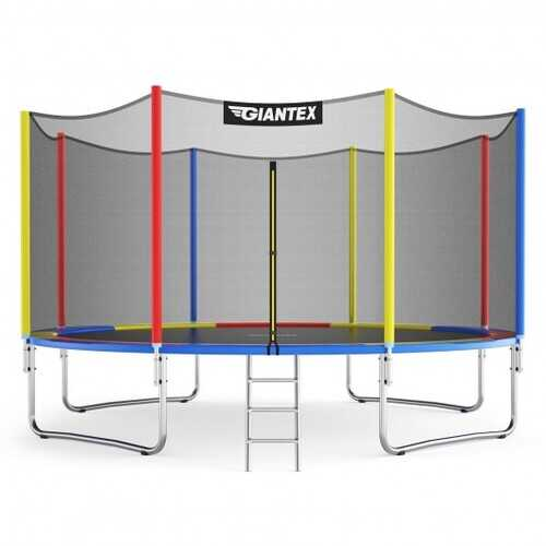 12Ft Trampoline with Safety Enclosure Net and Ladder Outdoor for Kids Adults