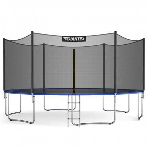 15 ft Outdoor Trampoline Combo with Bounce Jump Safety Enclosure Net and Spring Pad