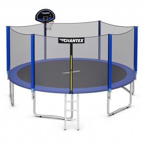 12FT Outdoor Trampoline for Kids with Safety Enclosure Net - Size: 12'