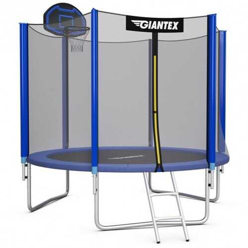 10FT Round Trampoline with Safety Enclosure Net-10' - Size: 10'